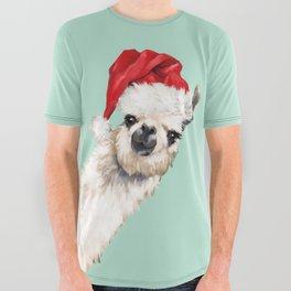 Christmas Sneaky Llama All Over Graphic Tee