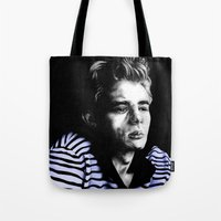 james franco Tote Bags featuring James  by Lucy Schmidt Art