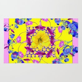 DECORATIVE PINK-YELLOW BLUE FLORALS Rug