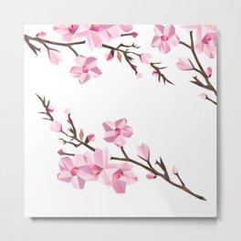 Geometric Japanese Sakura - Cherry Blossoms on White Background Metal Print