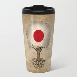 Vintage Tree of Life with Flag of Japan Travel Mug