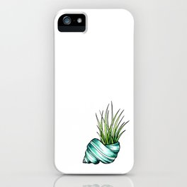 Teal Shell and Plant iPhone Case