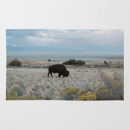 Bison in The Field Rug