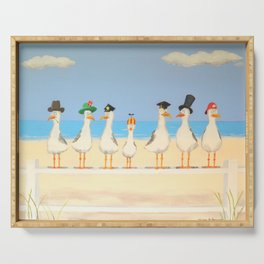 Seagulls with Hats Serving Tray