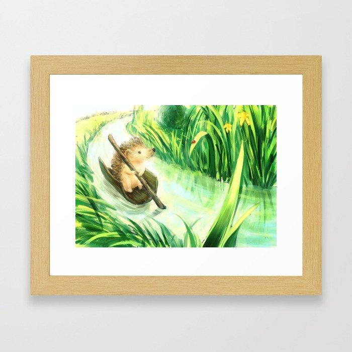 Hedgehog on a journey Framed Art Print