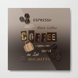 Ombre Coffee Beans and Brews Word Art Metal Print