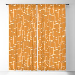 Retro Orange Lino Print Geometric Pattern Blackout Curtain