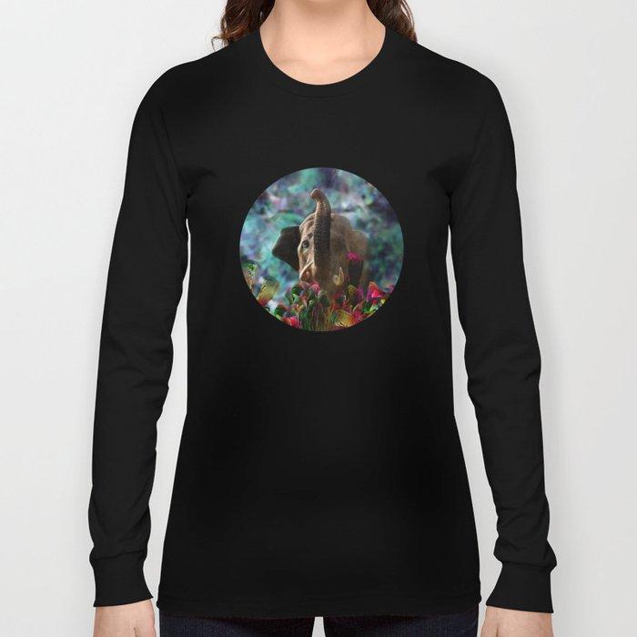Elephant in Fractal Jungle Long Sleeve T-shirt