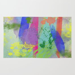 Water Color Splashes and Strokes Rug