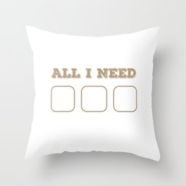 Funny Foodie Lazy Person All I Need Is Food Wifi Bed Gift Throw Pillow