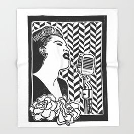 Lady Day (Billie Holiday block print blk) Throw Blanket