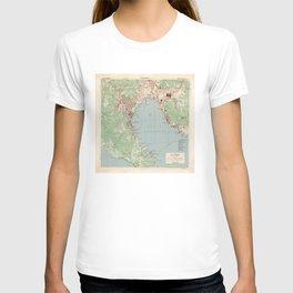Vintage La Spezia Italy Map (1943) T-shirt