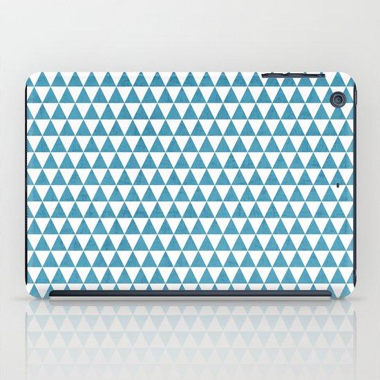 triangles - folk blue and white iPad Case