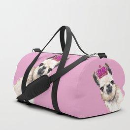 Llama Queen in Pink Duffle Bag