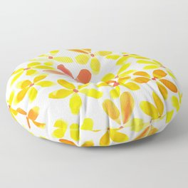 Retro Flowers - Yellow and Orange Floor Pillow