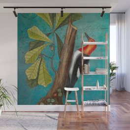 Red Headed Woodpecker with Oak, Natural History and Botanical collage Wall Mural