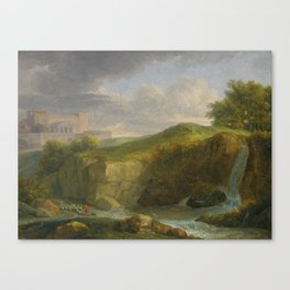 Jean-Victor Bertin A Landscape With Two Horsemen Riding Through a Valley; A Landscape With a Shepher Canvas Print