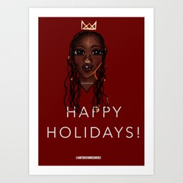 Happy a Holidays Greeting Cards Themes Art Print