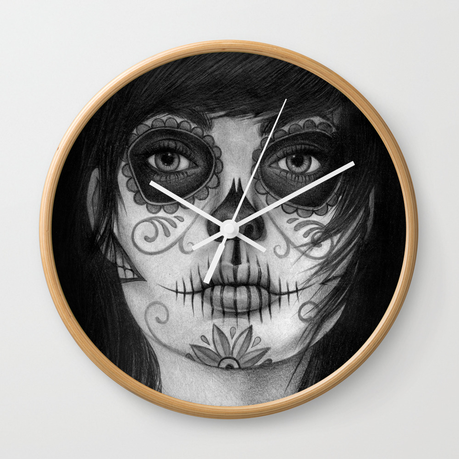 Sugar Skull Day Of The Dead Woman Wall Clock By Alyx92 Society6