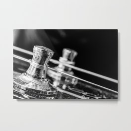 In Tune close up electric guitar tuning post and string Metal Print