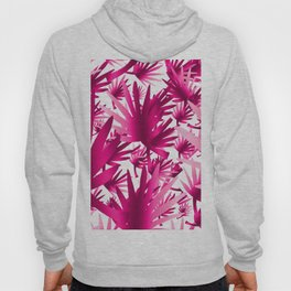 Modern tropical pink fuchsia leaves floral Hoody