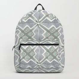 Gray Green Boho Handpainted Tiles Watercolor Backpack