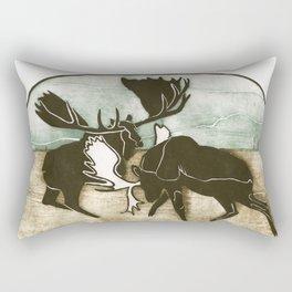 Moose Fight Rectangular Pillow