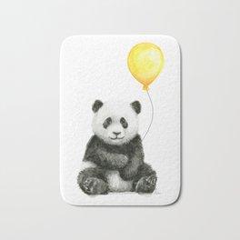 Panda Watercolor Animal with Yellow Balloon Nursery Baby Animals Bath Mat