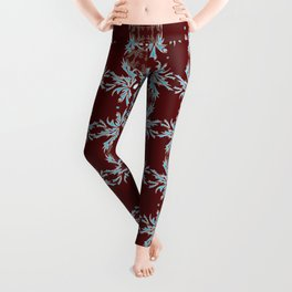 Maroon, Teal and White Detailed Textile Leggings