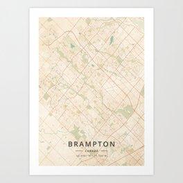 Brampton, Canada - Vintage Map Art Print