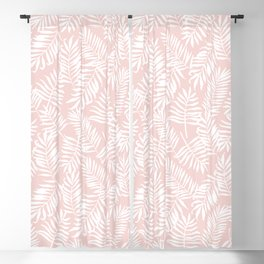 Tropical Palm Leaves - Pink & White Palm Leaf Pattern Blackout Curtain