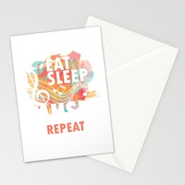 Eat Sleep Music Repeat Musical Melody Acapella Carols Songs Gift Stationery Cards