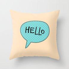 Hello Speech Bubble  Throw Pillow