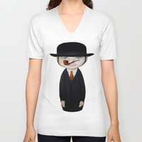 magritte V-neck T-shirts featuring omaggio a Magritte by beatrice alegiani