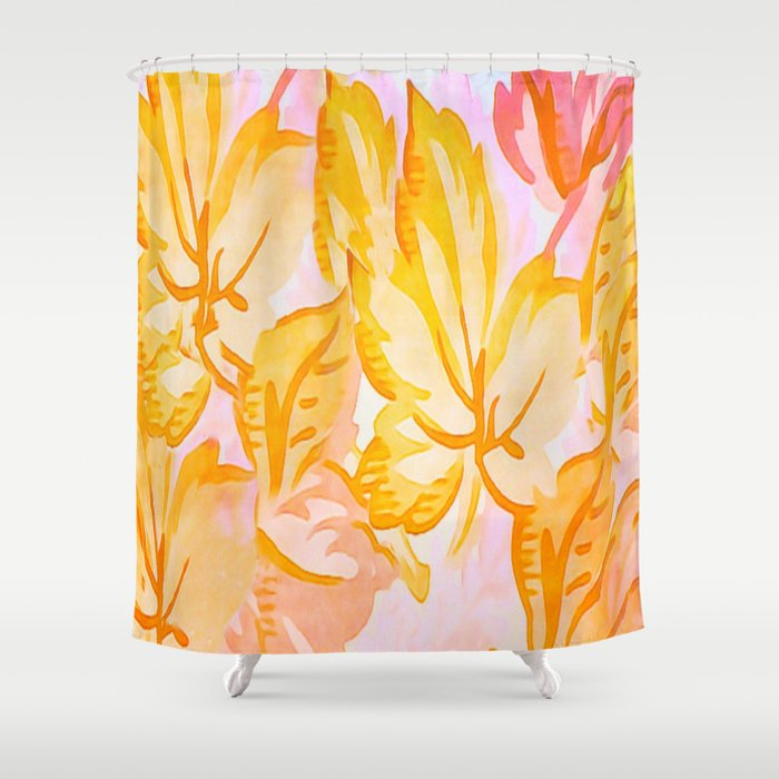 Soft Painterly Pastel Autumn Leaves Shower Curtain By Judypalkimas