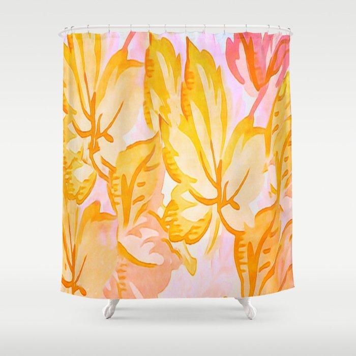 Soft Painterly Pastel Autumn Leaves Shower Curtain