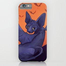 Black Bat Sphynx Kitten - Halloween Art iPhone Case