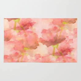 Delicate Pink Watercolor Floral Abtract Rug