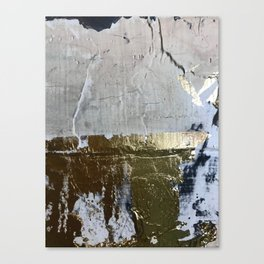 Elegantly Rough: an abstract, minimal piece in gold, pink, black and white by Alyssa Hamilton Art Canvas Print