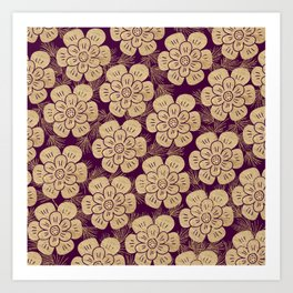 Stylish burgundy faux gold elegant floral Art Print