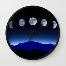 Moon Phases #blue Wall Clock