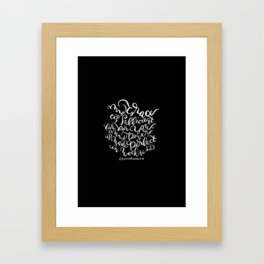 My Grace is Sufficient - 2 Corinthians 12:9 /  White on Black Framed Art Print