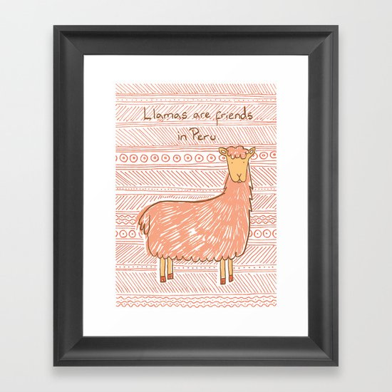 Llamas are Friends in Peru Framed Art Print