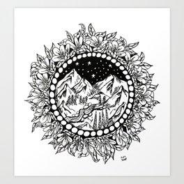 Mountains At Night Floral Mandala Art Print