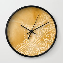 Mandala flower on watercolor background - orange Wall Clock