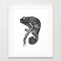 chameleon Framed Art Prints featuring Chameleon  by Rebexi
