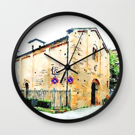 Faenza: church with bicycle and road signs Wall Clock