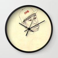 tyler durden Wall Clocks featuring Tyler by withapencilinhand