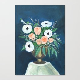 blush and white bouquet Canvas Print