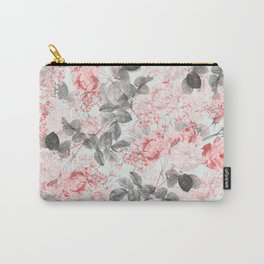 Vintag & Shabby Chic - Living Coral Summer Roses Flower Garden Carry-All Pouch